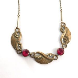 Antique Necklace Pale Rose Red Wings